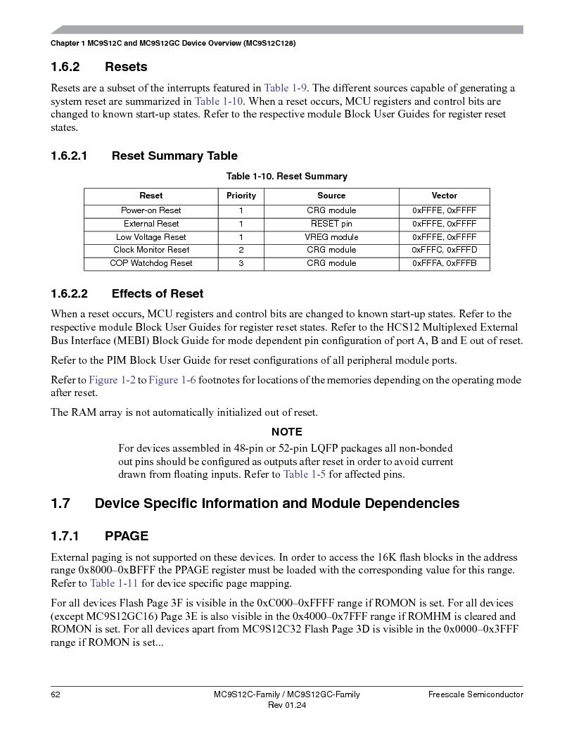 MC9S12GC96VFUE ,Freescale Semiconductor厂商,IC MCU 96K FLASH 25MHZ 80-QFP, MC9S12GC96VFUE datasheet预览  第62页