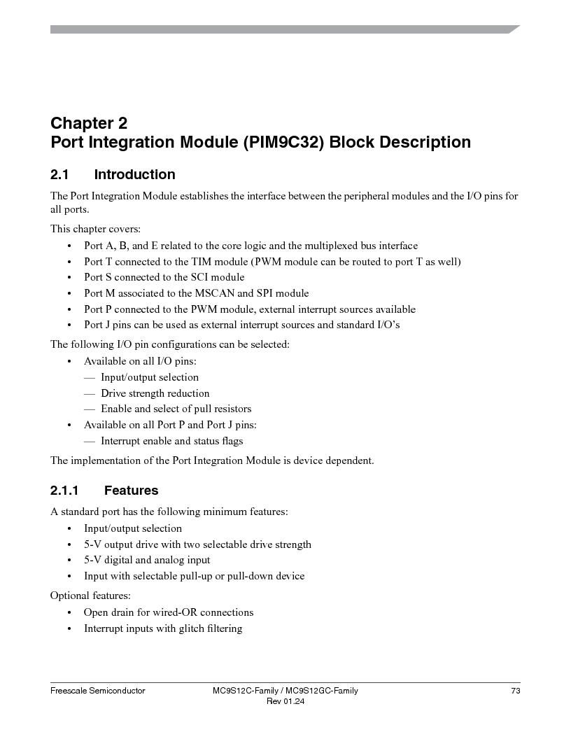MC9S12GC96VFUE ,Freescale Semiconductor厂商,IC MCU 96K FLASH 25MHZ 80-QFP, MC9S12GC96VFUE datasheet预览  第73页