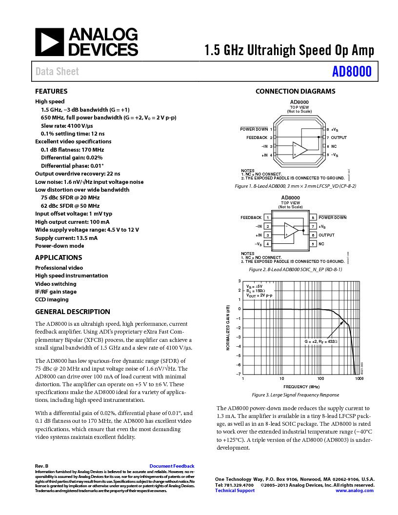 AD8000YCPZ-R2 ,Analog Devices Inc厂商,IC OPAMP CF LN 100MA 8SFCSP, AD8000YCPZ-R2 datasheet预览  第1页