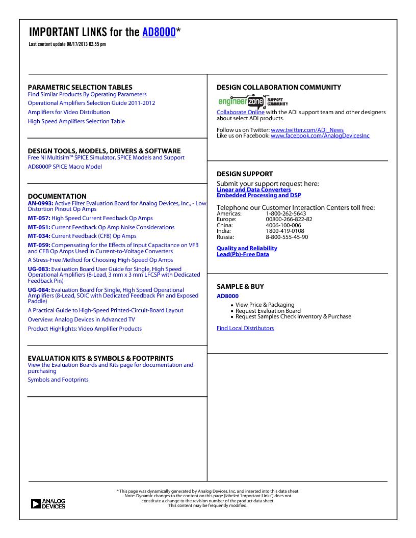 AD8000YCPZ-R2 ,Analog Devices Inc厂商,IC OPAMP CF LN 100MA 8SFCSP, AD8000YCPZ-R2 datasheet预览  第2页