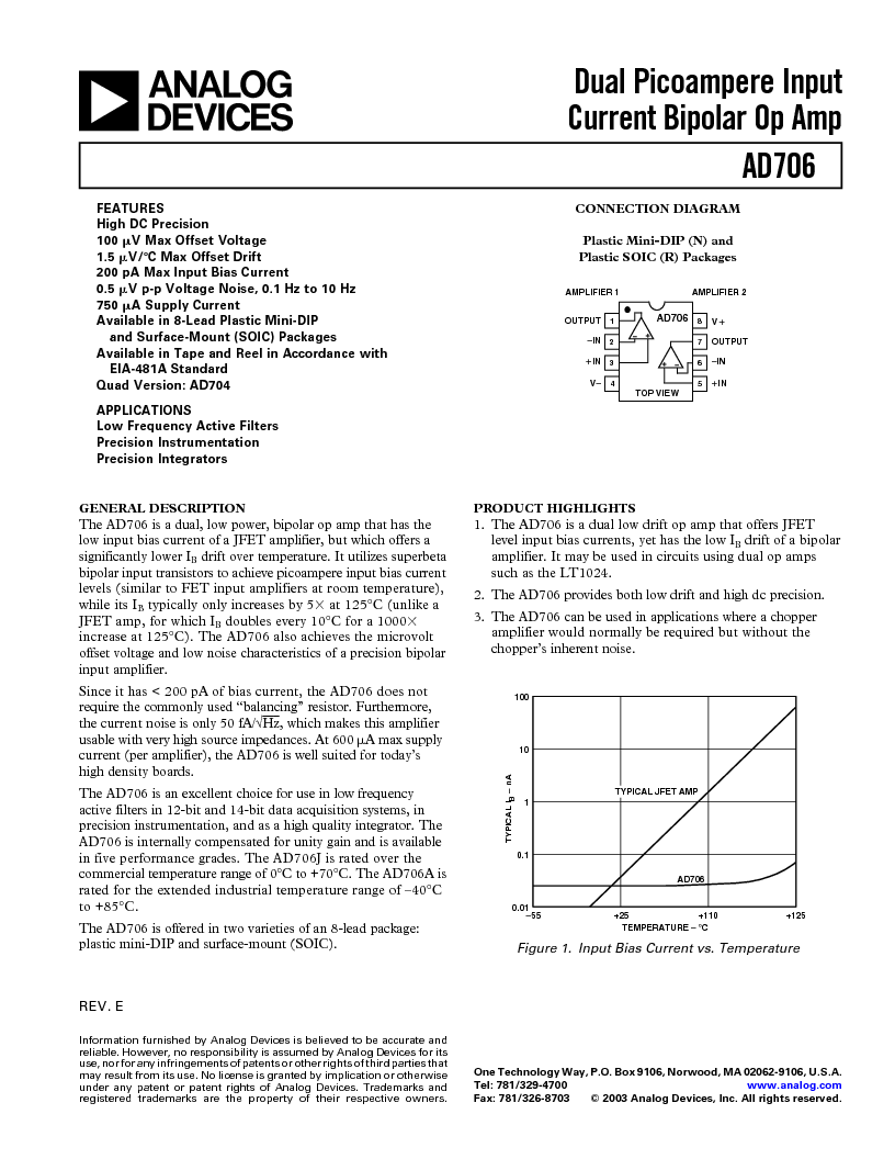 AD706JR-REEL7 ,Analog Devices Inc厂商,IC OPAMP GP DUAL PREC 15MA 8SOIC, AD706JR-REEL7 datasheet预览  第1页