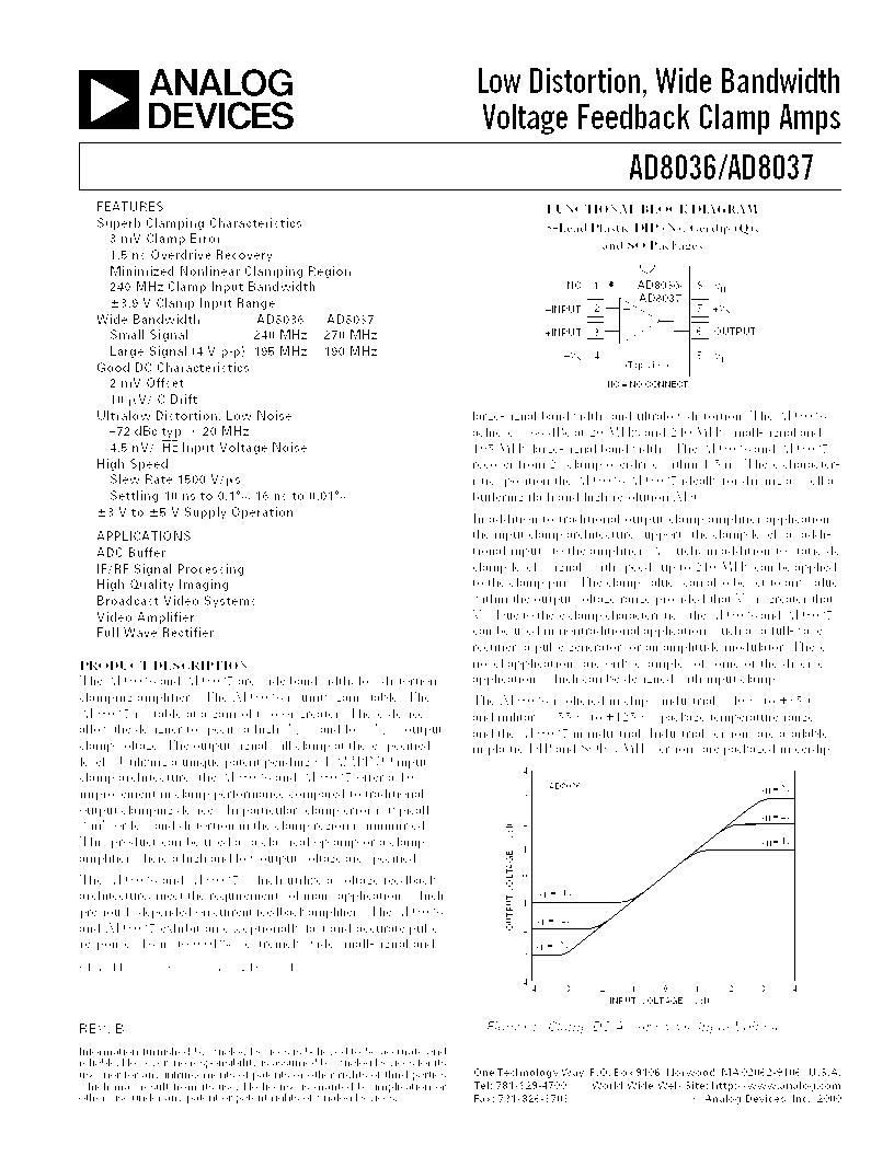 AD8037ARZ-REEL ,Analog Devices Inc厂商,IC OPAMP VF ULDIST LN 70MA 8SOIC, AD8037ARZ-REEL datasheet预览  第1页