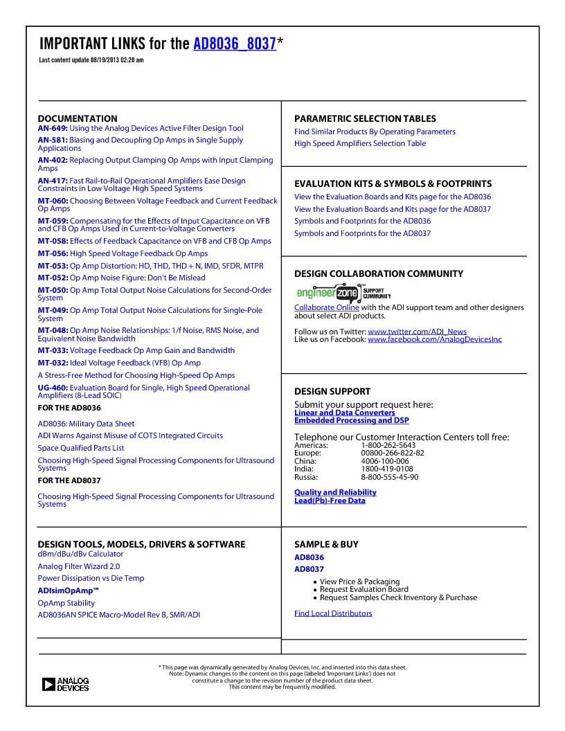 AD8037ARZ-REEL ,Analog Devices Inc厂商,IC OPAMP VF ULDIST LN 70MA 8SOIC, AD8037ARZ-REEL datasheet预览  第2页