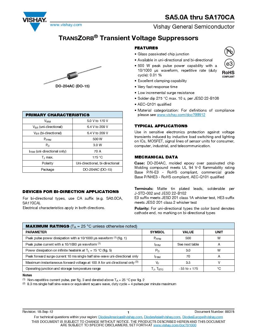 SA9.0CA-E3/54 ,Vishay Semiconductor Diodes Division厂商,TVS BIDIR 500W 9V 5% AXIAL, SA9.0CA-E3/54 datasheet预览  第1页
