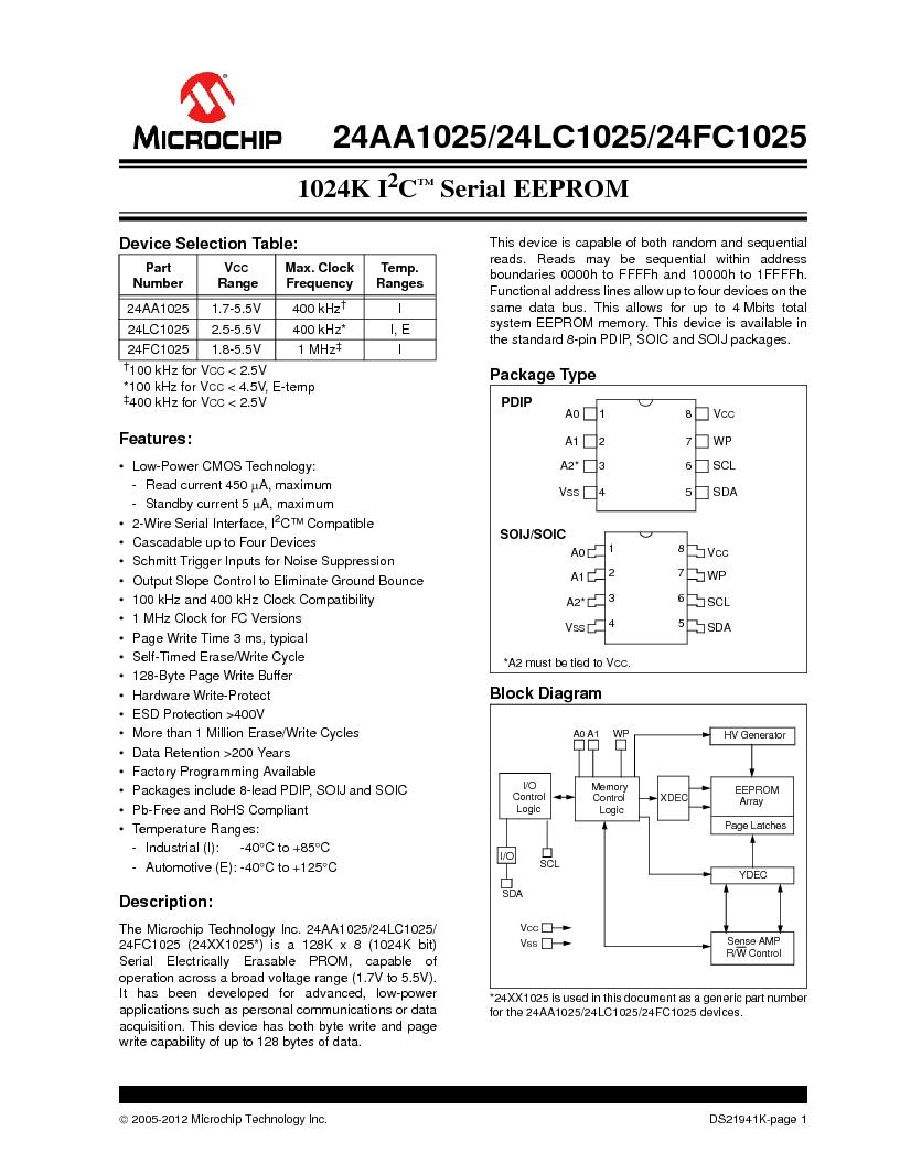 24LC1025-I/SM ,Microchip Technology厂商,IC EEPROM 1MBIT 400KHZ 8SOIC, 24LC1025-I/SM datasheet预览  第1页