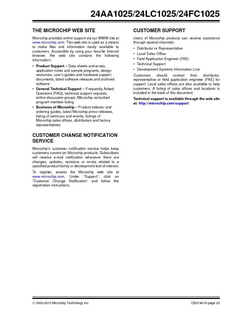 24LC1025-I/SM ,Microchip Technology厂商,IC EEPROM 1MBIT 400KHZ 8SOIC, 24LC1025-I/SM datasheet预览  第23页