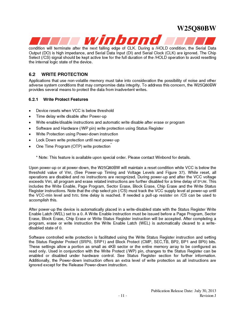 W25Q80BWSNIG ,Winbond Electronics厂商,IC FLASH SPI 8MBIT 8SOIC, W25Q80BWSNIG datasheet预览  第11页
