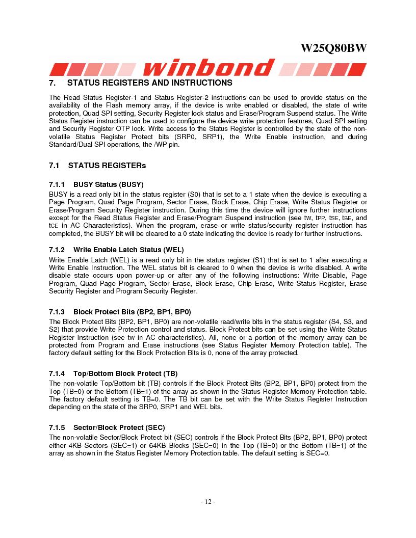 W25Q80BWSNIG ,Winbond Electronics厂商,IC FLASH SPI 8MBIT 8SOIC, W25Q80BWSNIG datasheet预览  第12页