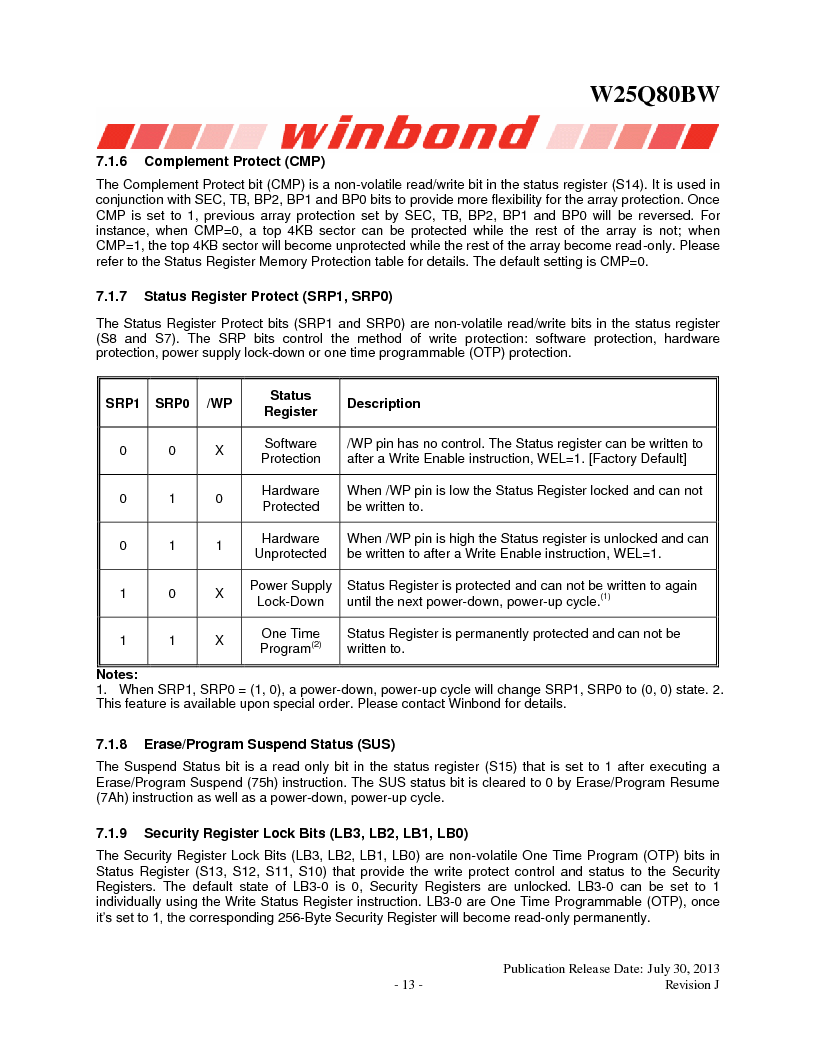 W25Q80BWSNIG ,Winbond Electronics厂商,IC FLASH SPI 8MBIT 8SOIC, W25Q80BWSNIG datasheet预览  第13页