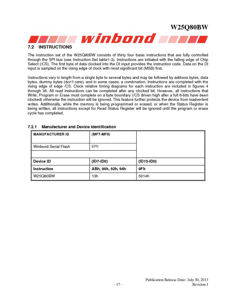 W25Q80BWSNIG ,Winbond Electronics厂商,IC FLASH SPI 8MBIT 8SOIC, W25Q80BWSNIG datasheet预览  第17页
