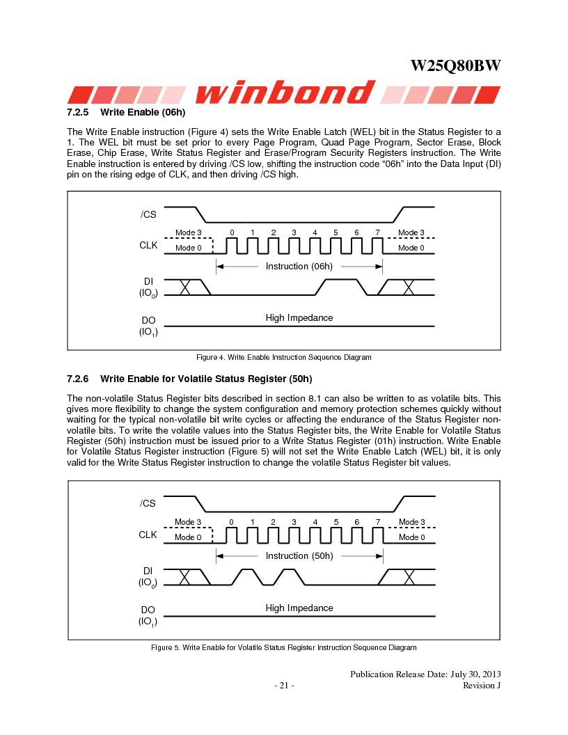 W25Q80BWSNIG ,Winbond Electronics厂商,IC FLASH SPI 8MBIT 8SOIC, W25Q80BWSNIG datasheet预览  第21页