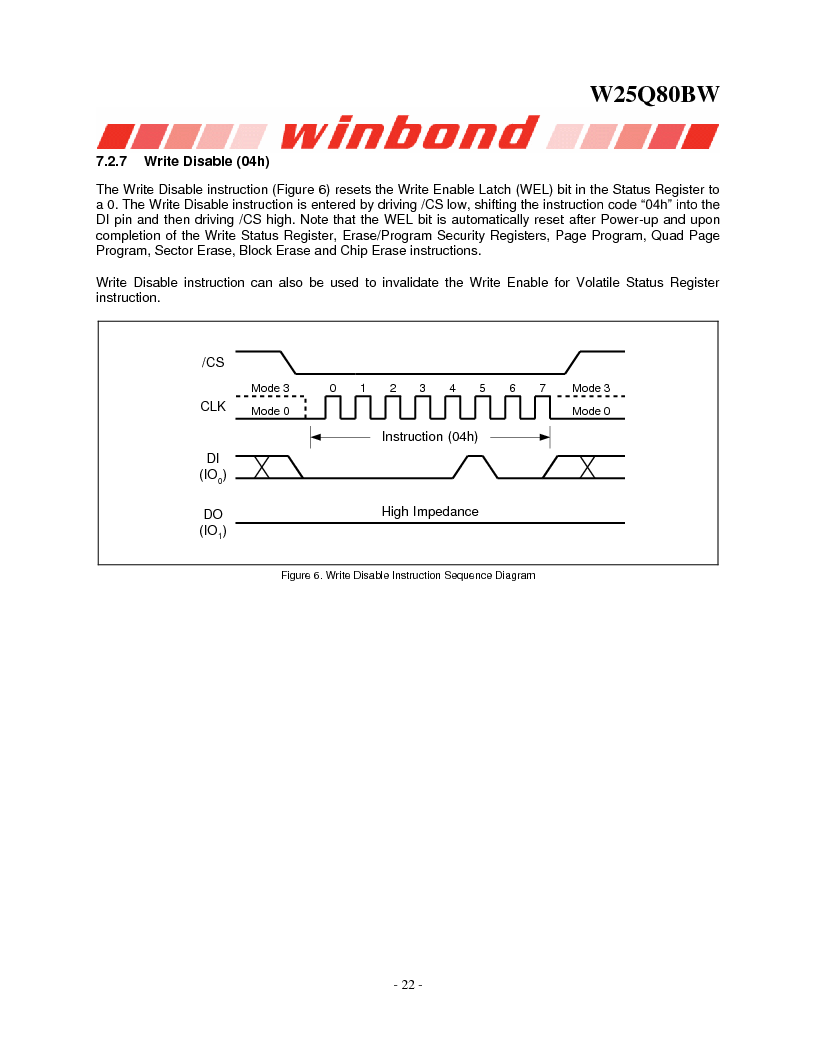 W25Q80BWSNIG ,Winbond Electronics厂商,IC FLASH SPI 8MBIT 8SOIC, W25Q80BWSNIG datasheet预览  第22页