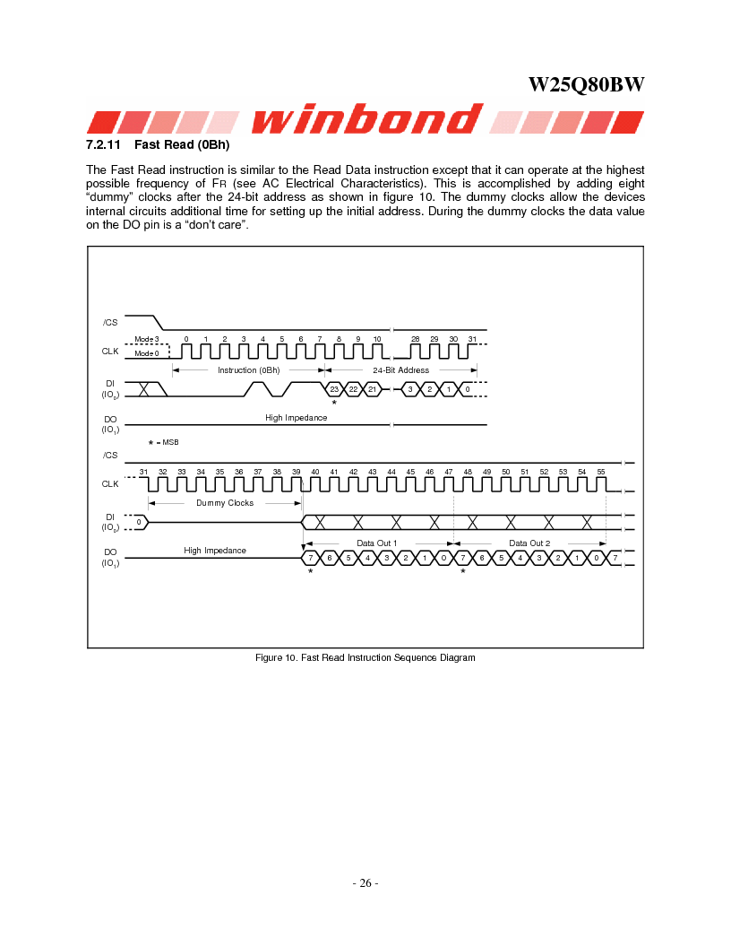 W25Q80BWSNIG ,Winbond Electronics厂商,IC FLASH SPI 8MBIT 8SOIC, W25Q80BWSNIG datasheet预览  第26页