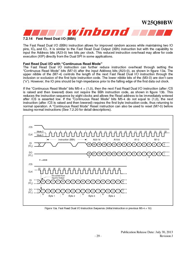W25Q80BWSNIG ,Winbond Electronics厂商,IC FLASH SPI 8MBIT 8SOIC, W25Q80BWSNIG datasheet预览  第29页