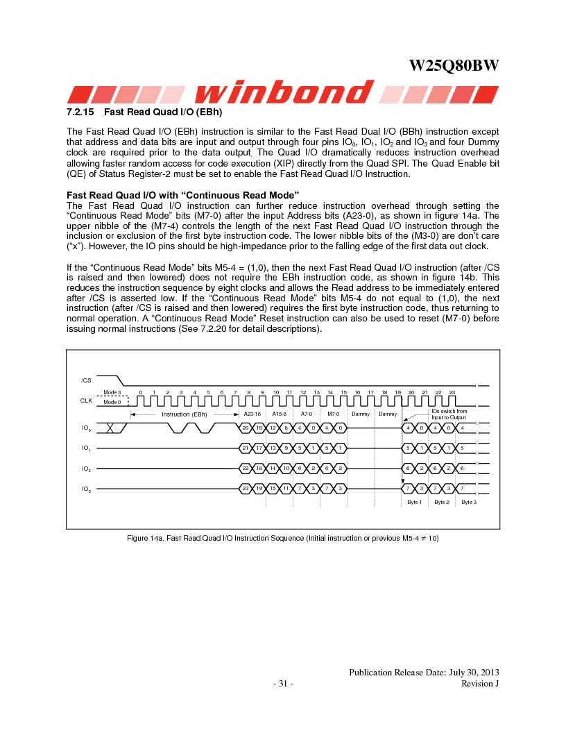 W25Q80BWSNIG ,Winbond Electronics厂商,IC FLASH SPI 8MBIT 8SOIC, W25Q80BWSNIG datasheet预览  第31页
