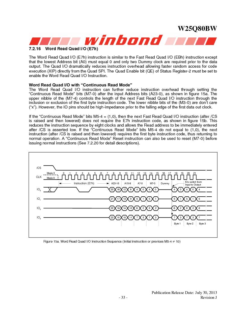 W25Q80BWSNIG ,Winbond Electronics厂商,IC FLASH SPI 8MBIT 8SOIC, W25Q80BWSNIG datasheet预览  第33页