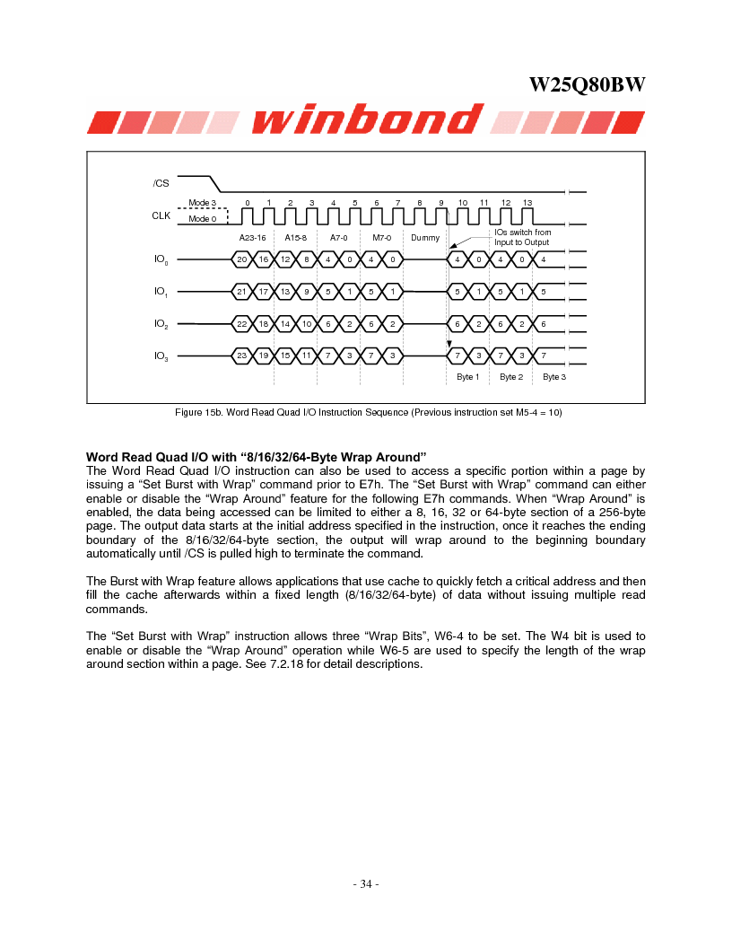 W25Q80BWSNIG ,Winbond Electronics厂商,IC FLASH SPI 8MBIT 8SOIC, W25Q80BWSNIG datasheet预览  第34页