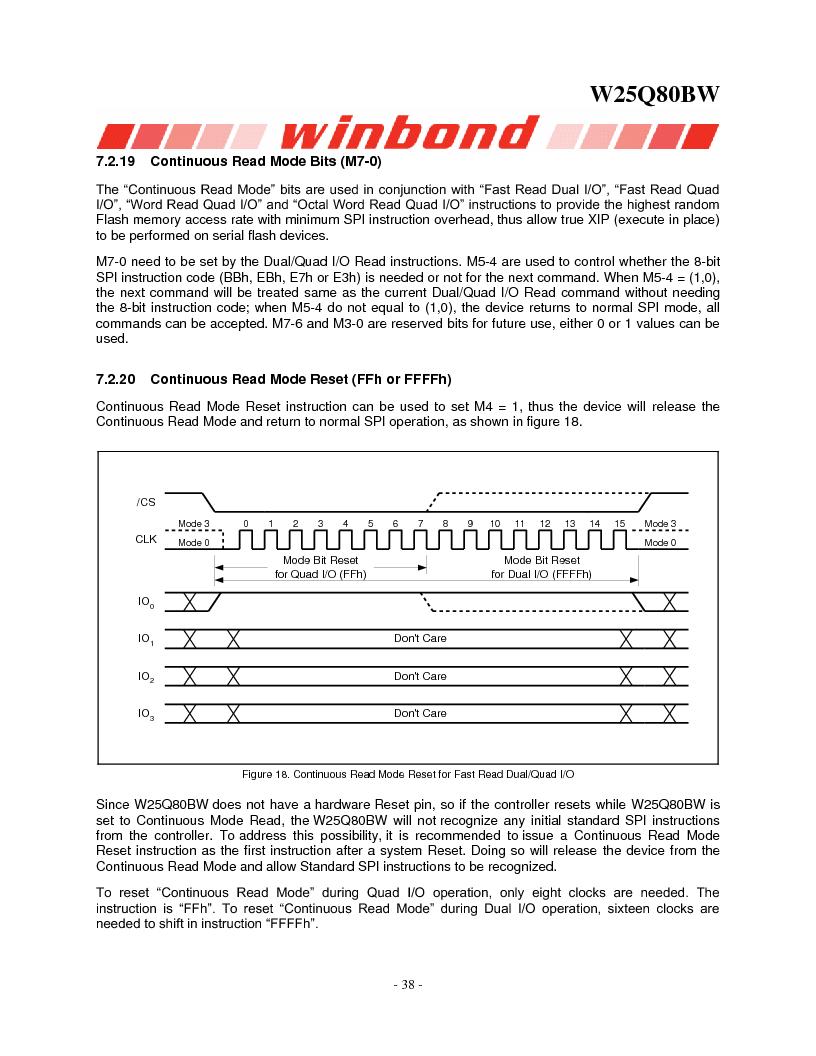 W25Q80BWSNIG ,Winbond Electronics厂商,IC FLASH SPI 8MBIT 8SOIC, W25Q80BWSNIG datasheet预览  第38页