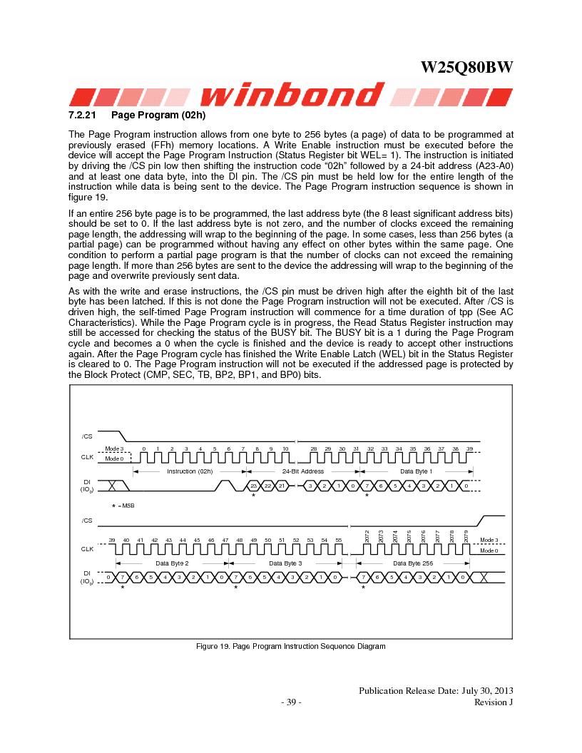 W25Q80BWSNIG ,Winbond Electronics厂商,IC FLASH SPI 8MBIT 8SOIC, W25Q80BWSNIG datasheet预览  第39页