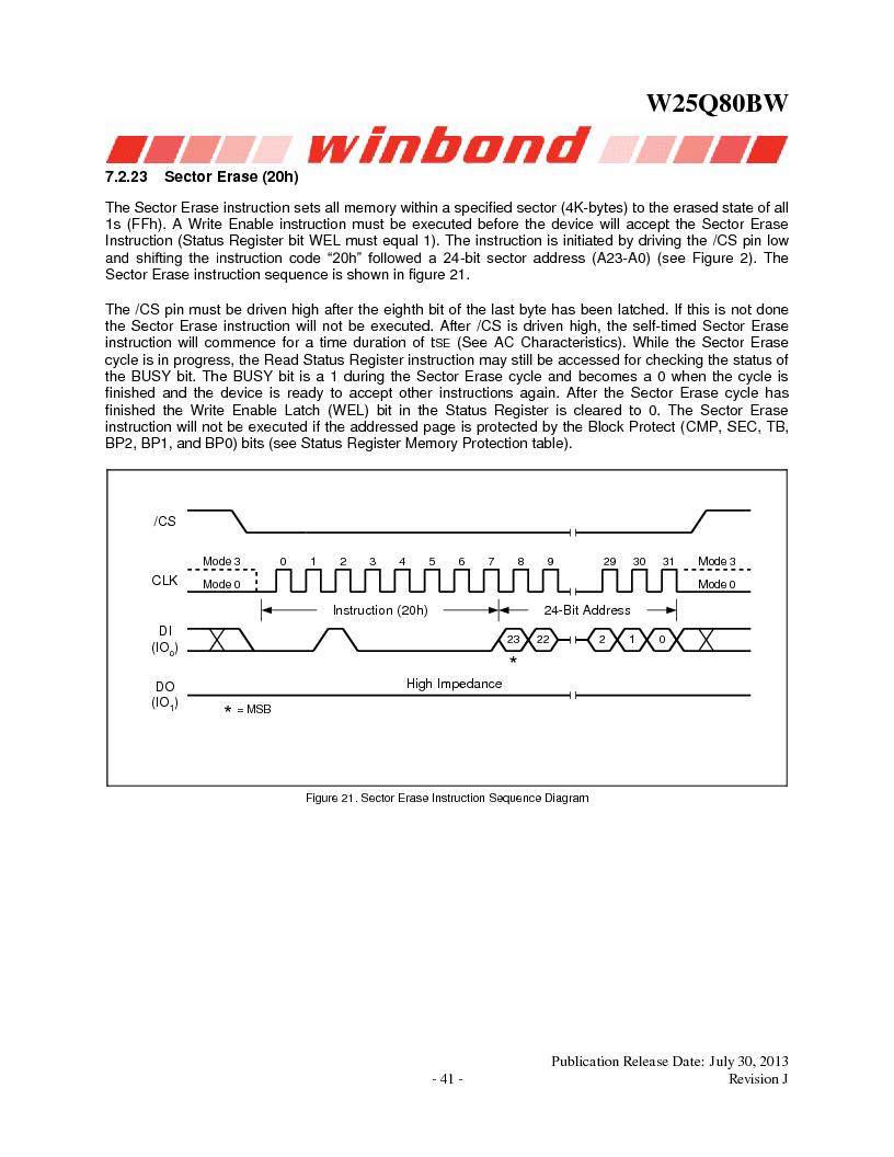 W25Q80BWSNIG ,Winbond Electronics厂商,IC FLASH SPI 8MBIT 8SOIC, W25Q80BWSNIG datasheet预览  第41页