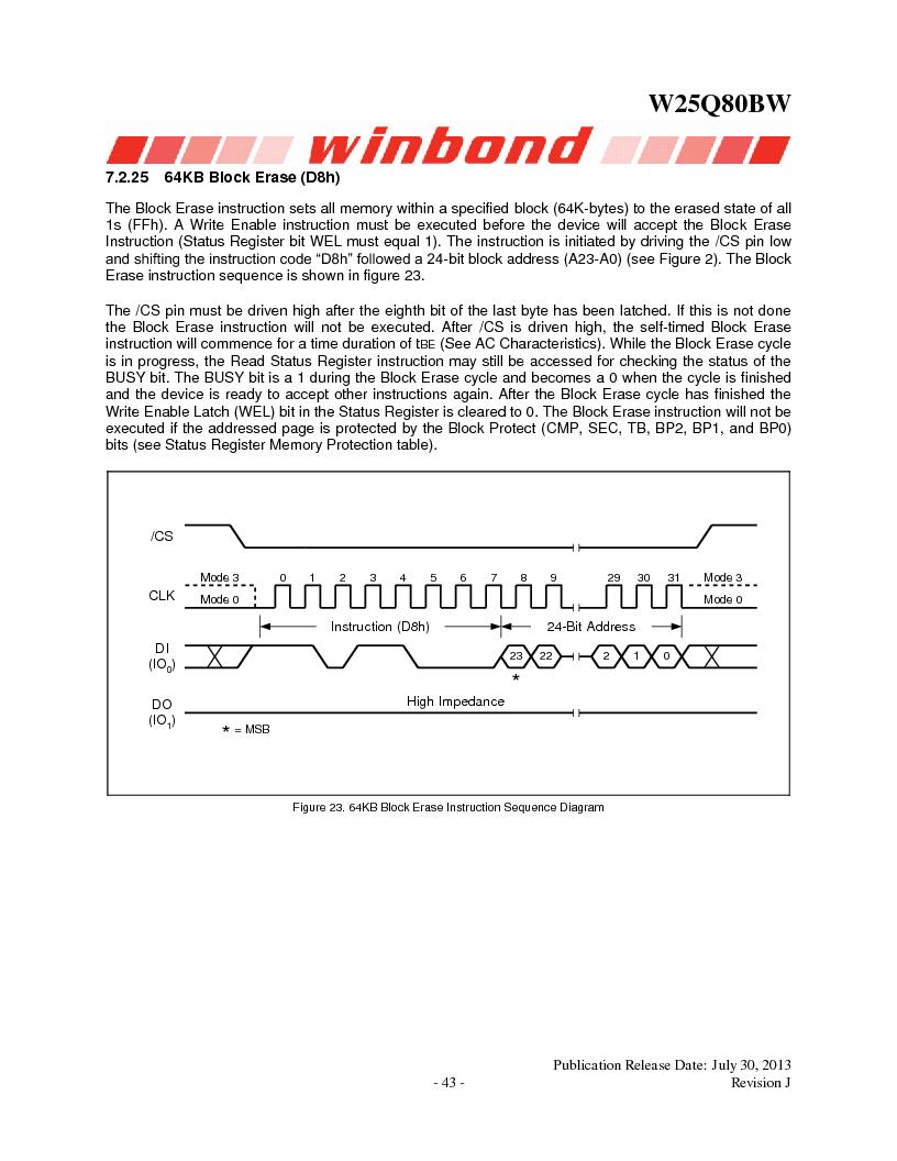 W25Q80BWSNIG ,Winbond Electronics厂商,IC FLASH SPI 8MBIT 8SOIC, W25Q80BWSNIG datasheet预览  第43页
