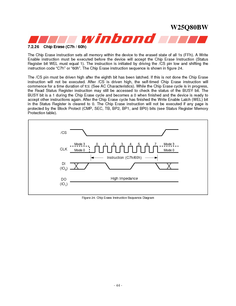 W25Q80BWSNIG ,Winbond Electronics厂商,IC FLASH SPI 8MBIT 8SOIC, W25Q80BWSNIG datasheet预览  第44页