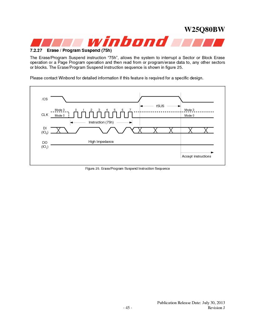 W25Q80BWSNIG ,Winbond Electronics厂商,IC FLASH SPI 8MBIT 8SOIC, W25Q80BWSNIG datasheet预览  第45页