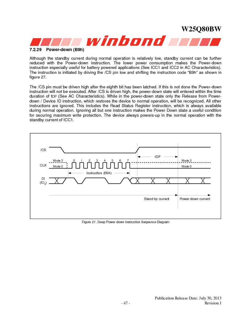 W25Q80BWSNIG ,Winbond Electronics厂商,IC FLASH SPI 8MBIT 8SOIC, W25Q80BWSNIG datasheet预览  第47页