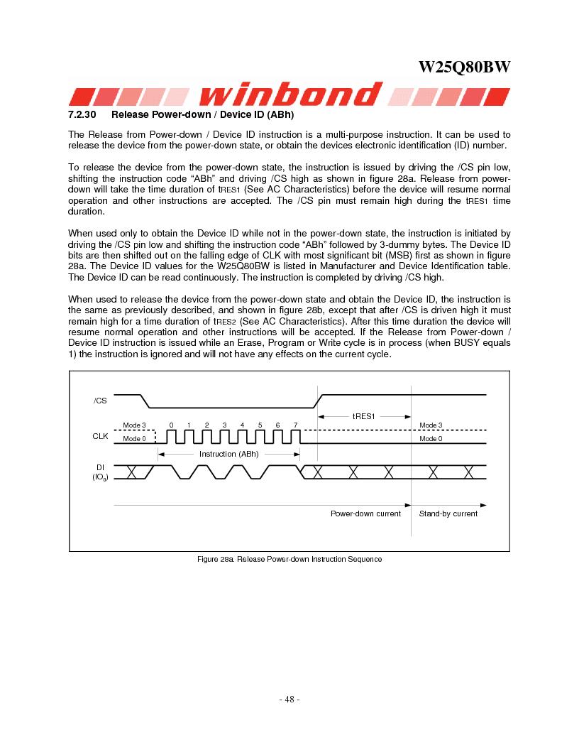 W25Q80BWSNIG ,Winbond Electronics厂商,IC FLASH SPI 8MBIT 8SOIC, W25Q80BWSNIG datasheet预览  第48页