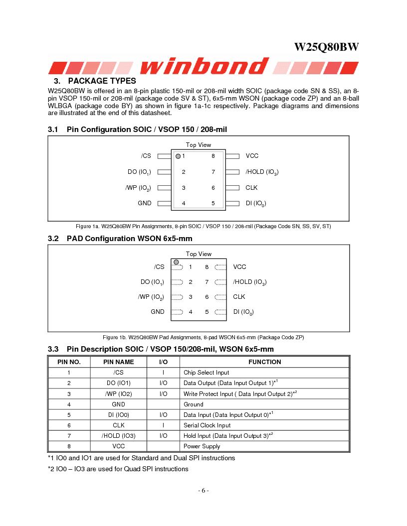 W25Q80BWSNIG ,Winbond Electronics厂商,IC FLASH SPI 8MBIT 8SOIC, W25Q80BWSNIG datasheet预览  第6页