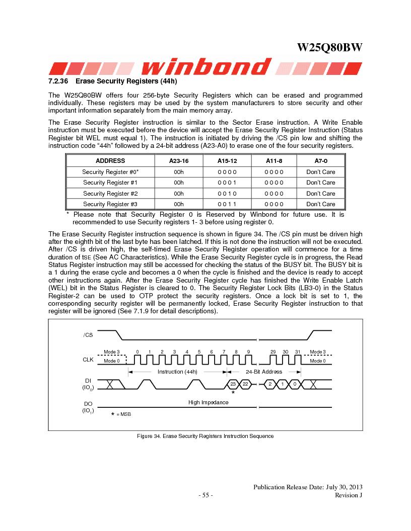 W25Q80BWSNIG ,Winbond Electronics厂商,IC FLASH SPI 8MBIT 8SOIC, W25Q80BWSNIG datasheet预览  第55页