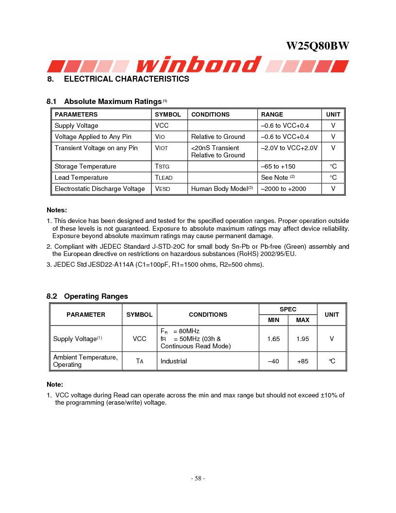 W25Q80BWSNIG ,Winbond Electronics厂商,IC FLASH SPI 8MBIT 8SOIC, W25Q80BWSNIG datasheet预览  第58页