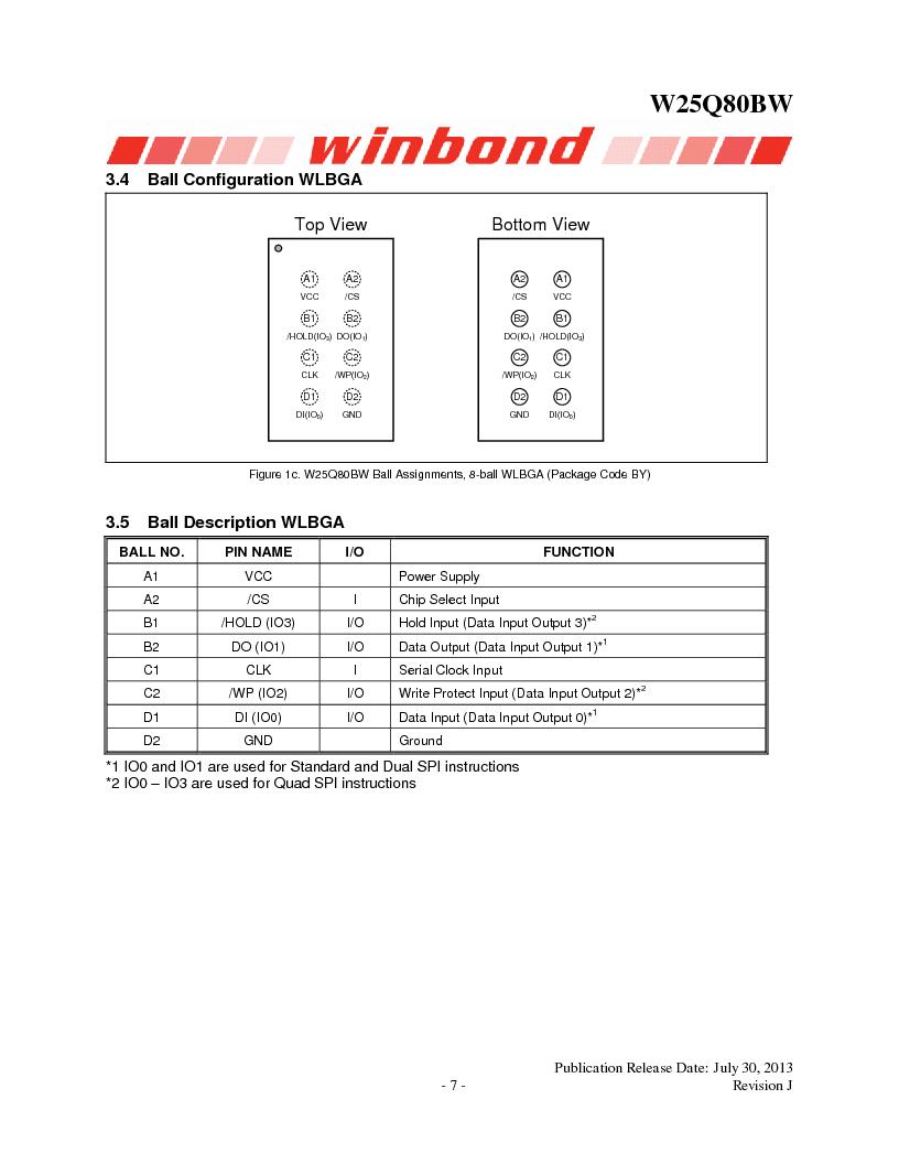 W25Q80BWSNIG ,Winbond Electronics厂商,IC FLASH SPI 8MBIT 8SOIC, W25Q80BWSNIG datasheet预览  第7页