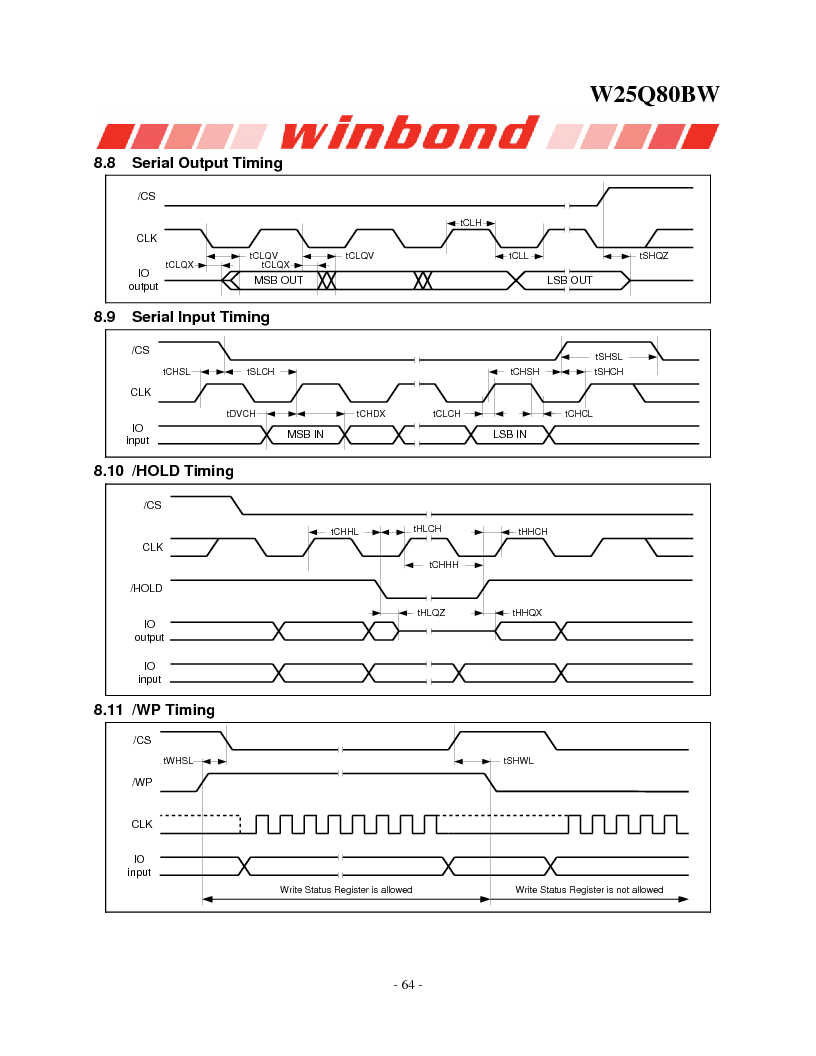 W25Q80BWSNIG ,Winbond Electronics厂商,IC FLASH SPI 8MBIT 8SOIC, W25Q80BWSNIG datasheet预览  第64页
