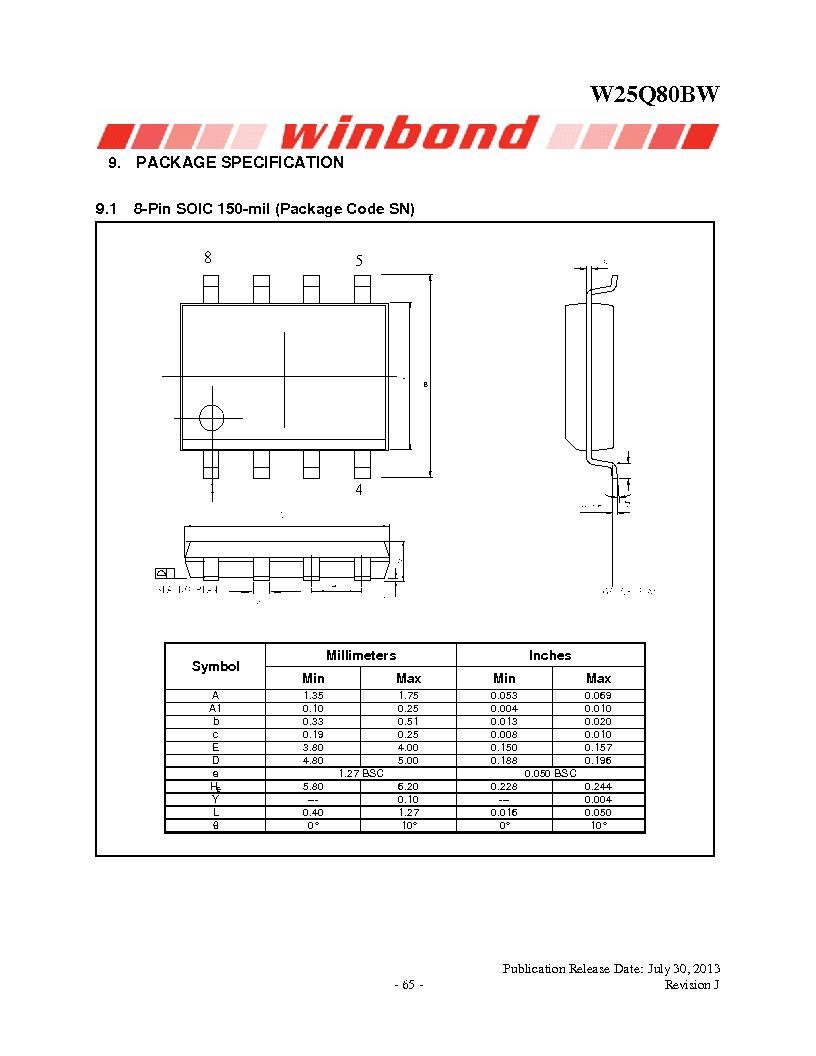 W25Q80BWSNIG ,Winbond Electronics厂商,IC FLASH SPI 8MBIT 8SOIC, W25Q80BWSNIG datasheet预览  第65页