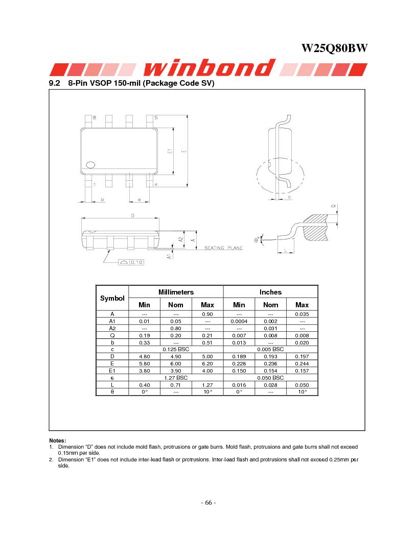 W25Q80BWSNIG ,Winbond Electronics厂商,IC FLASH SPI 8MBIT 8SOIC, W25Q80BWSNIG datasheet预览  第66页