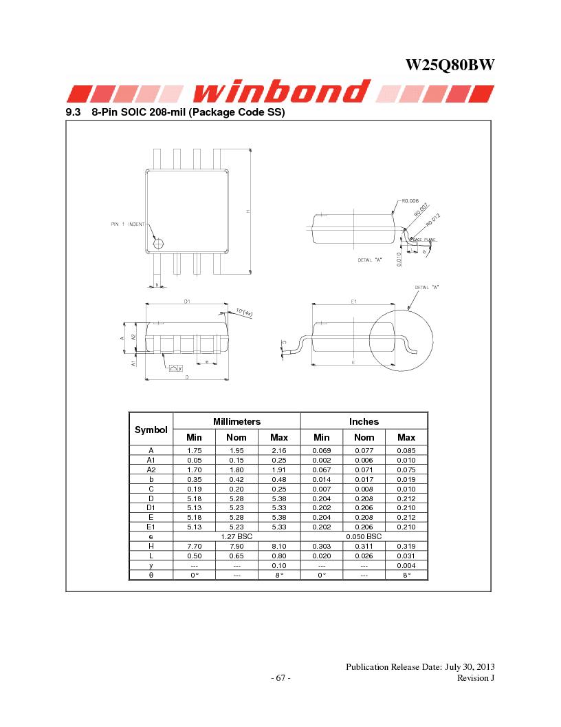 W25Q80BWSNIG ,Winbond Electronics厂商,IC FLASH SPI 8MBIT 8SOIC, W25Q80BWSNIG datasheet预览  第67页