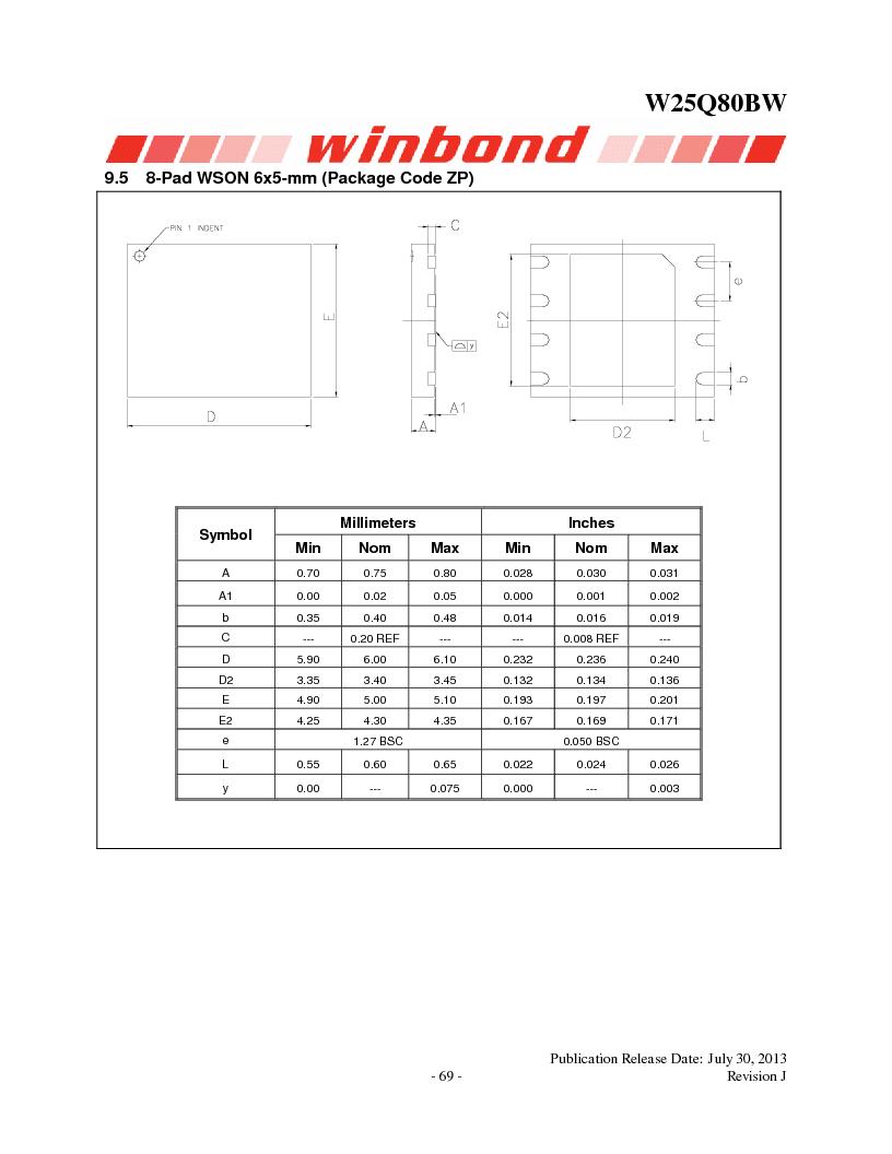 W25Q80BWSNIG ,Winbond Electronics厂商,IC FLASH SPI 8MBIT 8SOIC, W25Q80BWSNIG datasheet预览  第69页