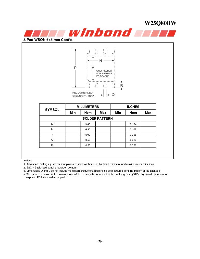W25Q80BWSNIG ,Winbond Electronics厂商,IC FLASH SPI 8MBIT 8SOIC, W25Q80BWSNIG datasheet预览  第70页