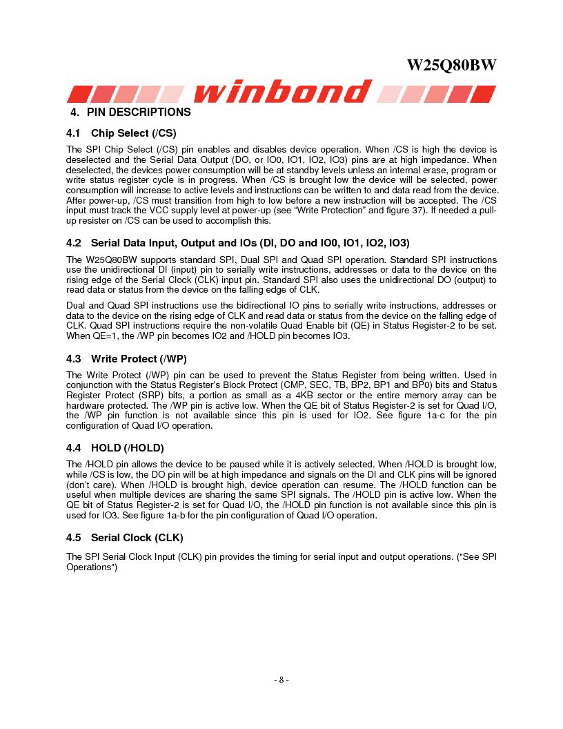 W25Q80BWSNIG ,Winbond Electronics厂商,IC FLASH SPI 8MBIT 8SOIC, W25Q80BWSNIG datasheet预览  第8页
