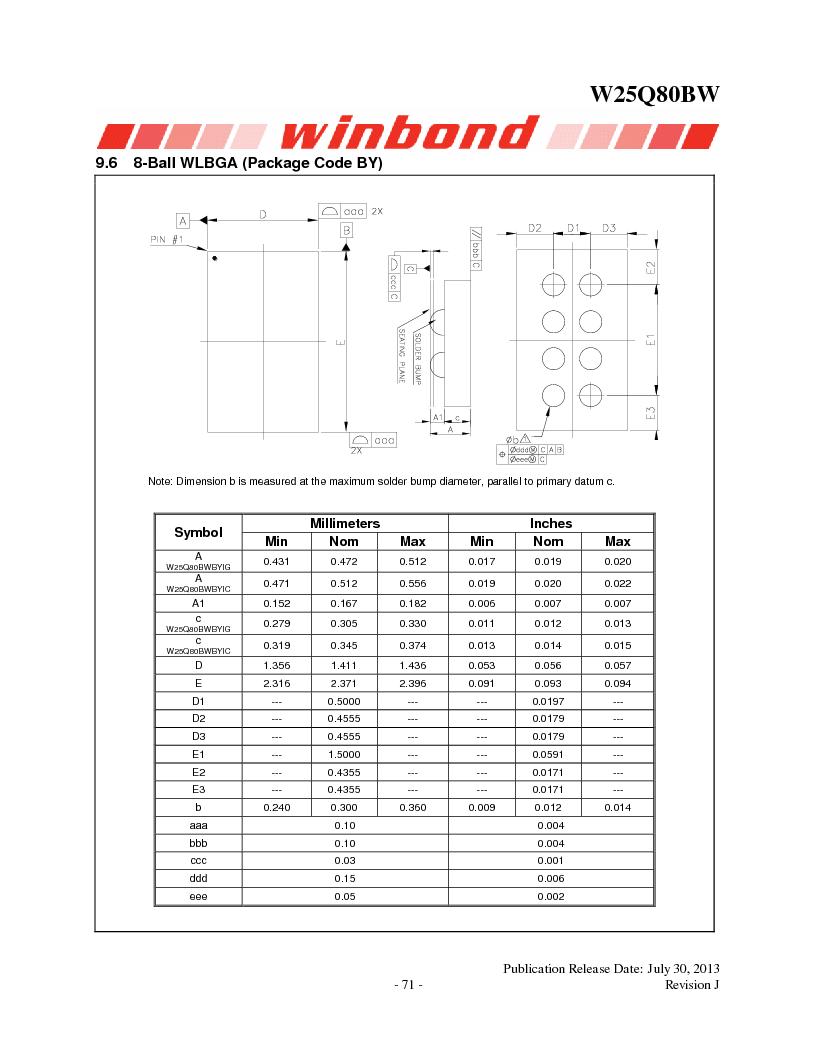 W25Q80BWSNIG ,Winbond Electronics厂商,IC FLASH SPI 8MBIT 8SOIC, W25Q80BWSNIG datasheet预览  第71页