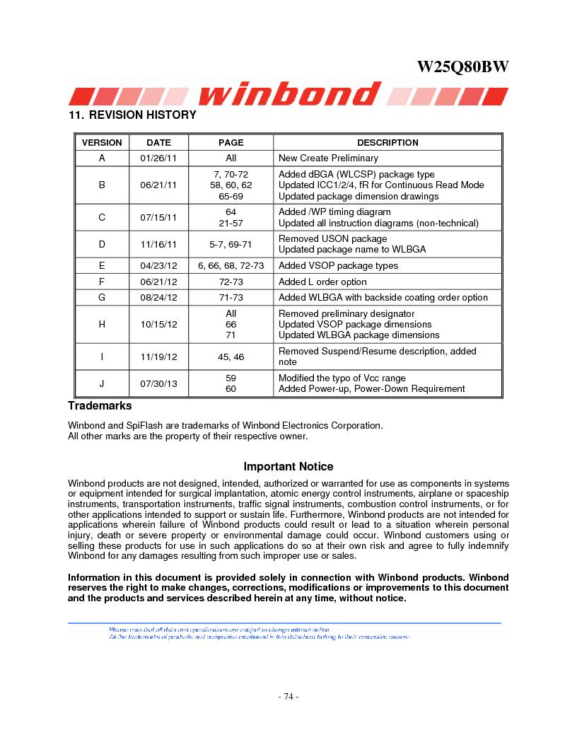 W25Q80BWSNIG ,Winbond Electronics厂商,IC FLASH SPI 8MBIT 8SOIC, W25Q80BWSNIG datasheet预览  第74页