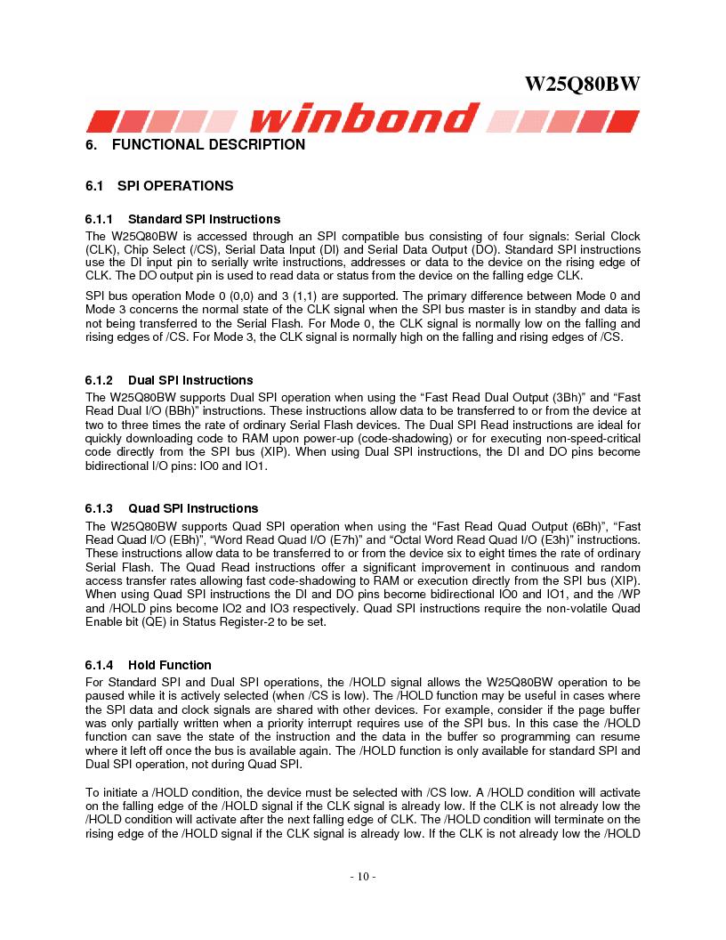 W25Q80BWSNIG ,Winbond Electronics厂商,IC FLASH SPI 8MBIT 8SOIC, W25Q80BWSNIG datasheet预览  第10页