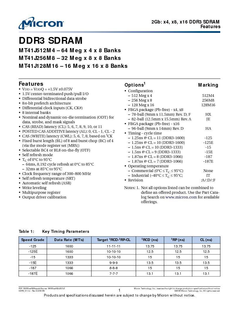 MT41J128M16HA-187E:D ,Micron Technology Inc厂商,IC DDR3 SDRAM 2GBIT 96FBGA, MT41J128M16HA-187E:D datasheet预览  第1页