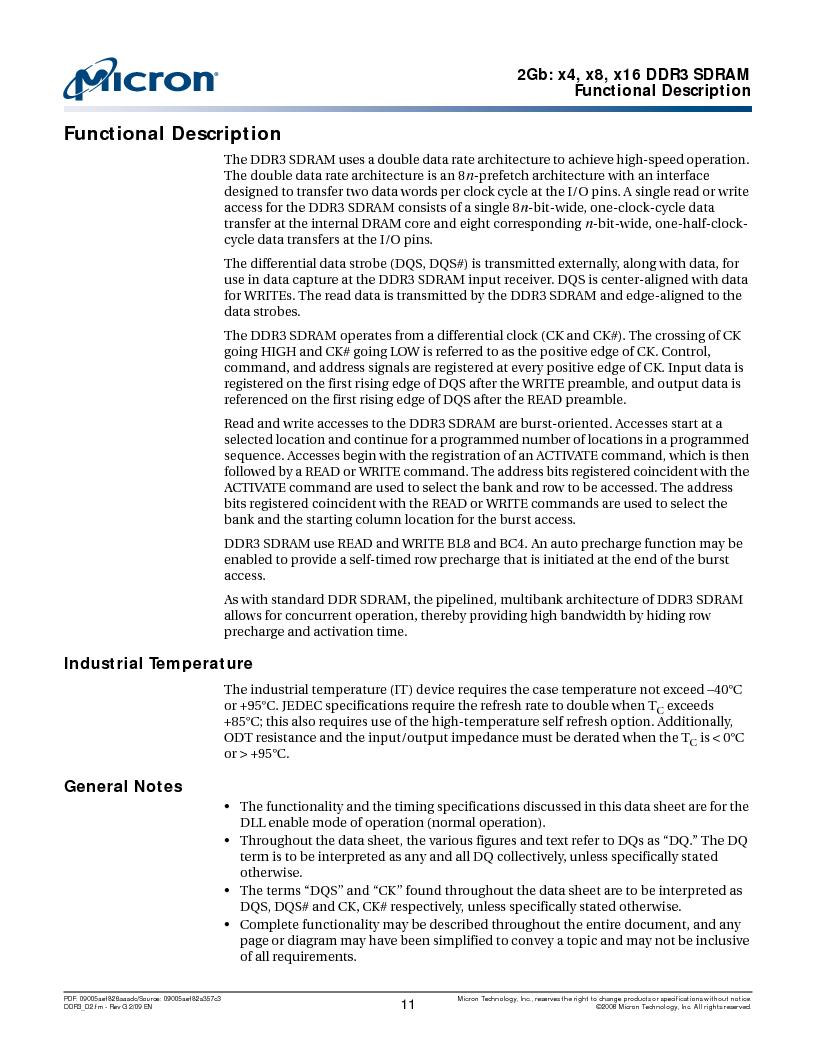 MT41J128M16HA-187E:D ,Micron Technology Inc厂商,IC DDR3 SDRAM 2GBIT 96FBGA, MT41J128M16HA-187E:D datasheet预览  第11页