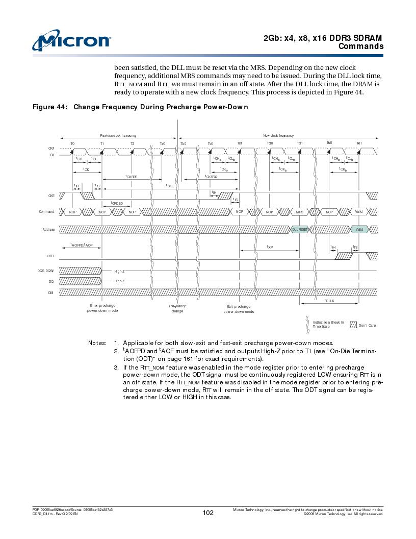 MT41J128M16HA-187E:D ,Micron Technology Inc厂商,IC DDR3 SDRAM 2GBIT 96FBGA, MT41J128M16HA-187E:D datasheet预览  第102页