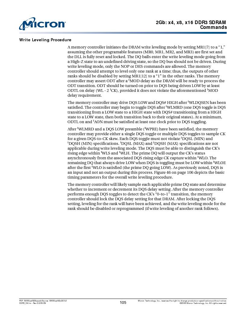 MT41J128M16HA-187E:D ,Micron Technology Inc厂商,IC DDR3 SDRAM 2GBIT 96FBGA, MT41J128M16HA-187E:D datasheet预览  第105页