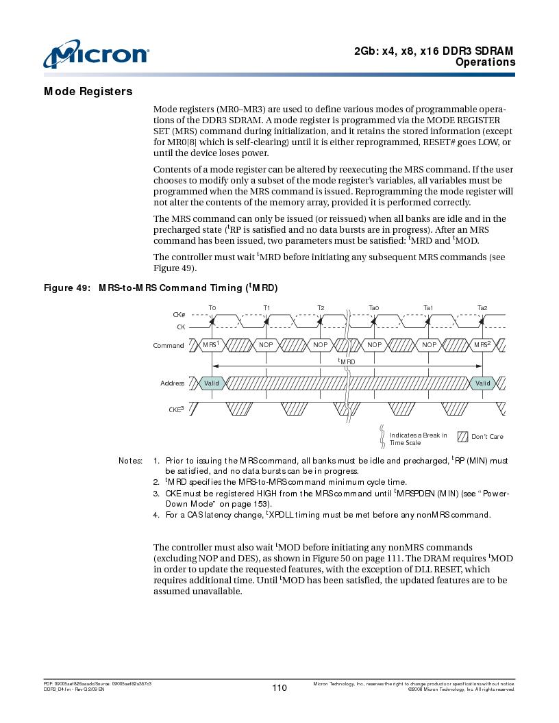 MT41J128M16HA-187E:D ,Micron Technology Inc厂商,IC DDR3 SDRAM 2GBIT 96FBGA, MT41J128M16HA-187E:D datasheet预览  第110页