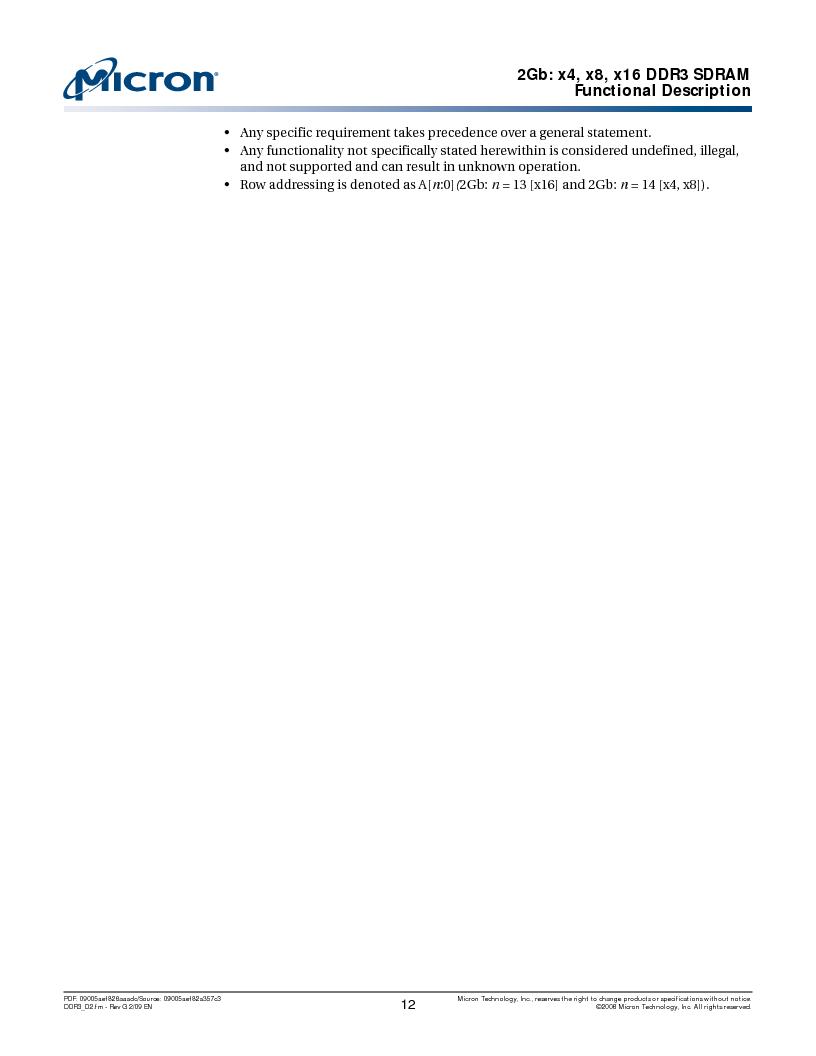 MT41J128M16HA-187E:D ,Micron Technology Inc厂商,IC DDR3 SDRAM 2GBIT 96FBGA, MT41J128M16HA-187E:D datasheet预览  第12页