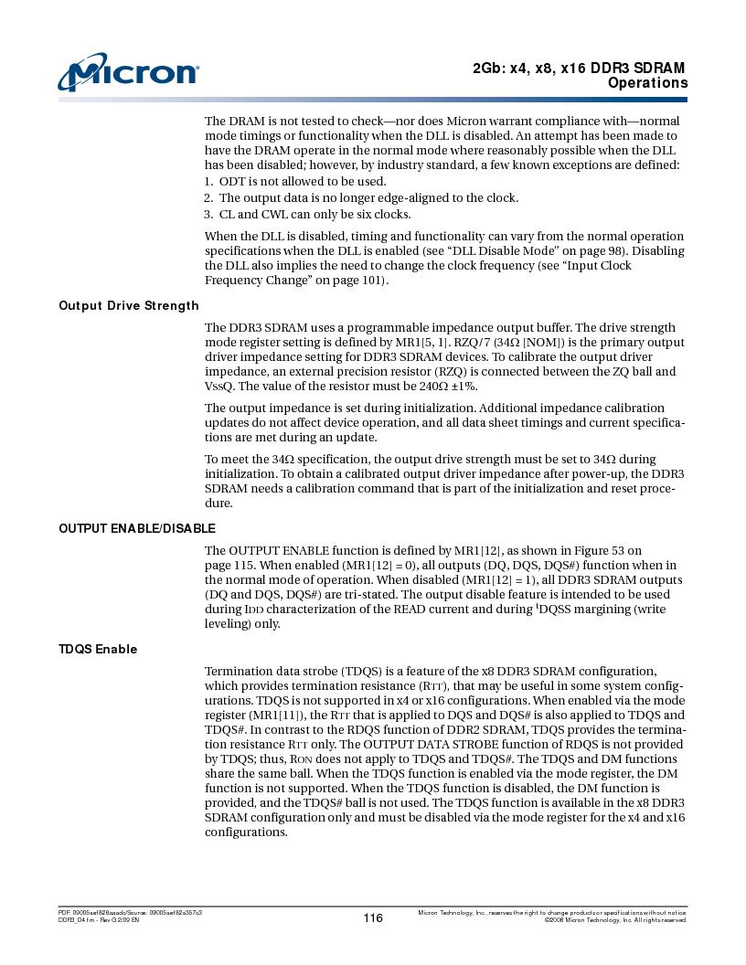 MT41J128M16HA-187E:D ,Micron Technology Inc厂商,IC DDR3 SDRAM 2GBIT 96FBGA, MT41J128M16HA-187E:D datasheet预览  第116页